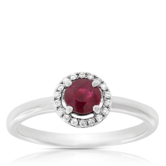 Ruby & Diamond Halo Ring 14K