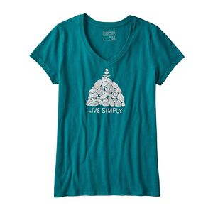 W's Live Simply® Summit Stones Cotton V-Neck T-Shirt, Elwha Blue (ELWB)