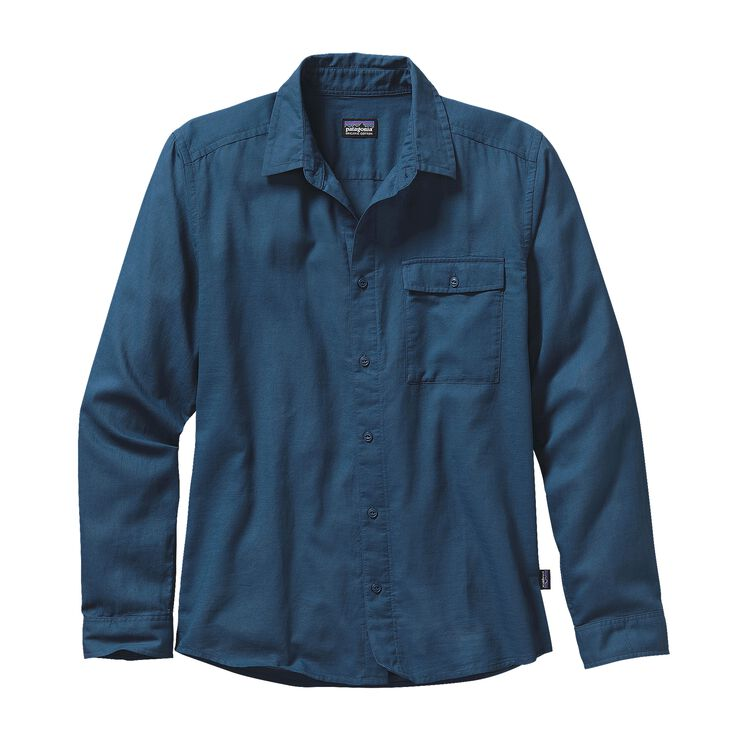 M'S L/S LW A/C SHIRT, Glass Blue (GLSB)