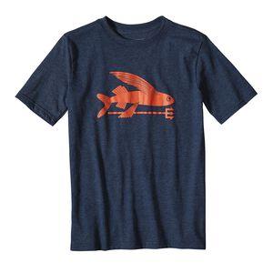 ボーイズ・フライング・フィッシュ・コットン/ポリ・Tシャツ, Navy Blue (NVYB)