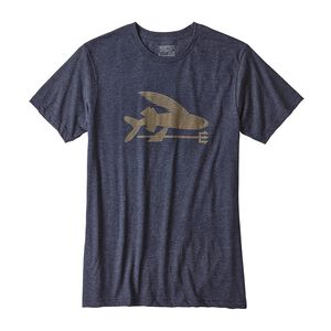 M's Flying Fish Organic Cotton/Poly T-Shirt, Navy Blue w/Ash Tan (NAVA)