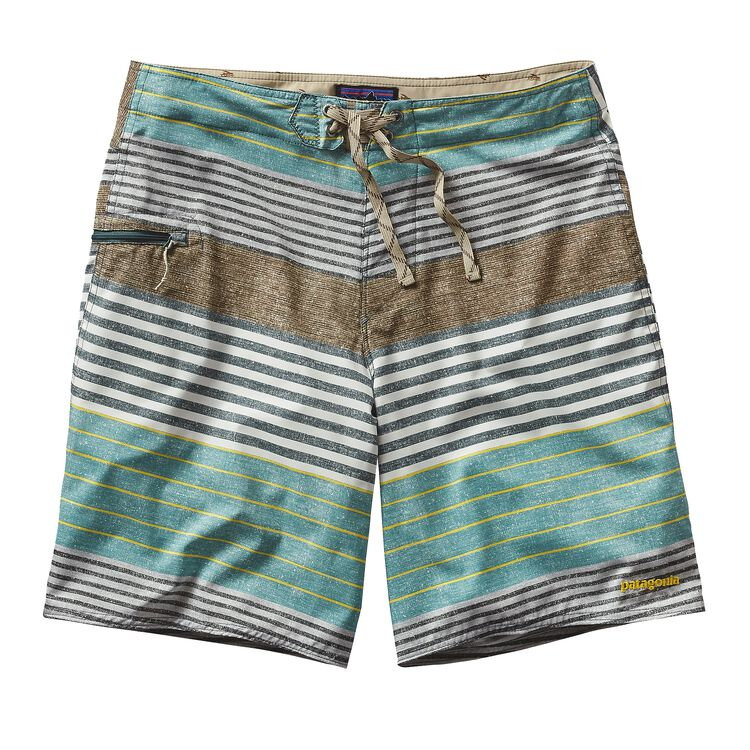 M'S PRINTED STRETCH PLANING BOARD SHORTS, Stripe of Stripes Texture: Nouveau Green (SSTN)