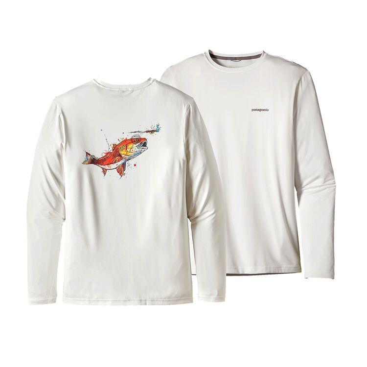 メンズ・グラフィック・テック・フィッシュ・ティー, Redfish Slurp: White (RDSW)