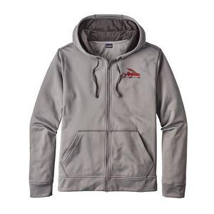 メンズ・スモール・フライング・フィッシュ・ポリサイクル・フルジップ・フーディ, Feather Grey (FEA)