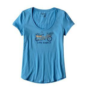 ウィメンズ・リブ・シンプリー・マーケット・バイク・コットン・スクープ・Tシャツ, Radar Blue (RAD)