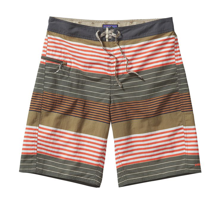 M'S PRINTED WAVEFARER BOARD SHORTS - 21, Stripe of Stripes: Industrial Green (SSIG)