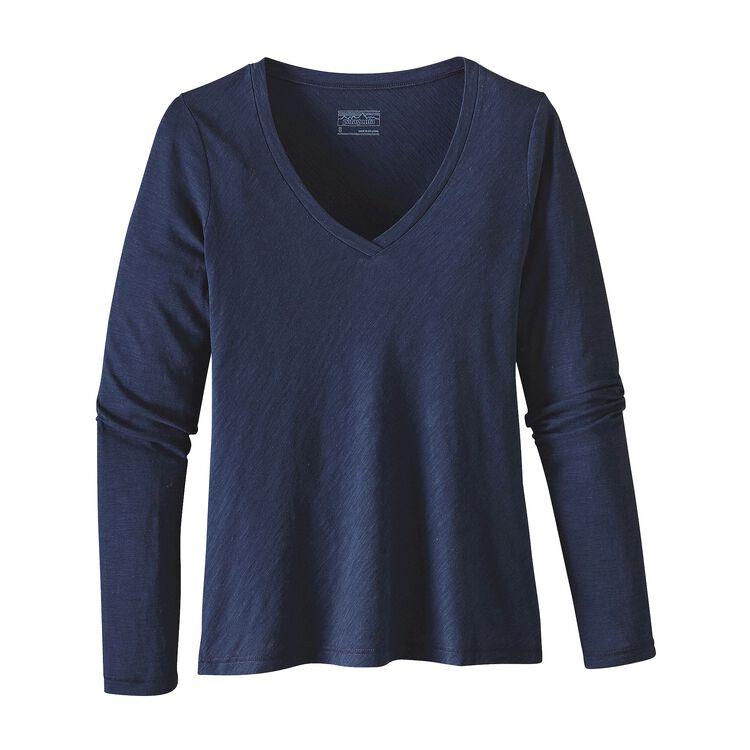 W'S L/S NECESSITY V-NECK, Navy Blue (NVYB)
