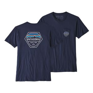 M'S FITZ ROY HEX ORGANIC POCKET T-SHIRT, Classic Navy (CNY)