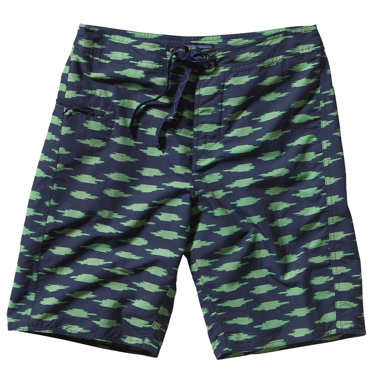 M'S WAVEFARER BOARD SHORTS - 21 IN., Ikat Blocks: Navy Blue (IBNN)