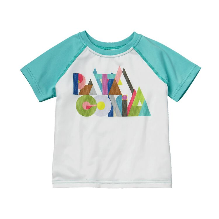 BABY CAP DAILY T-SHIRT, White w/Howling Turquoise (WTHQ)