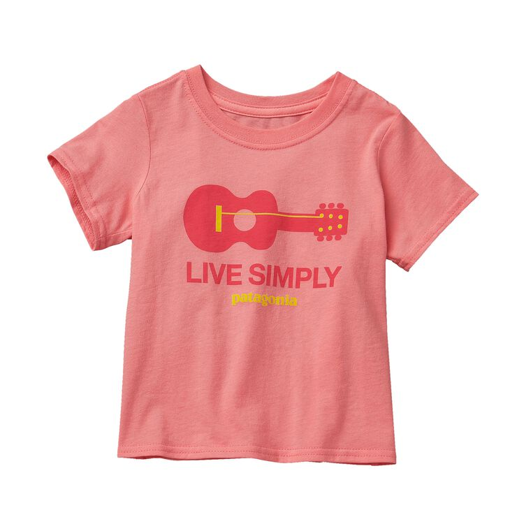 BABY LIVE SIMPLY GUITAR COTTON T-SHIRT, Pickled Pink (PCKP)