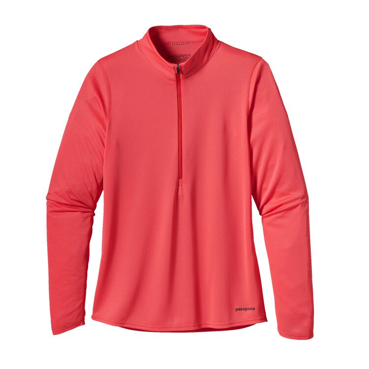 W'S L/S FORE RUNNER ZIP NECK, Shock Pink (SHKP)
