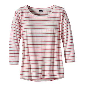 W's Shallow Seas 3/4-Sleeved Top, Breakwater Stripe: Birch White (BKBW)