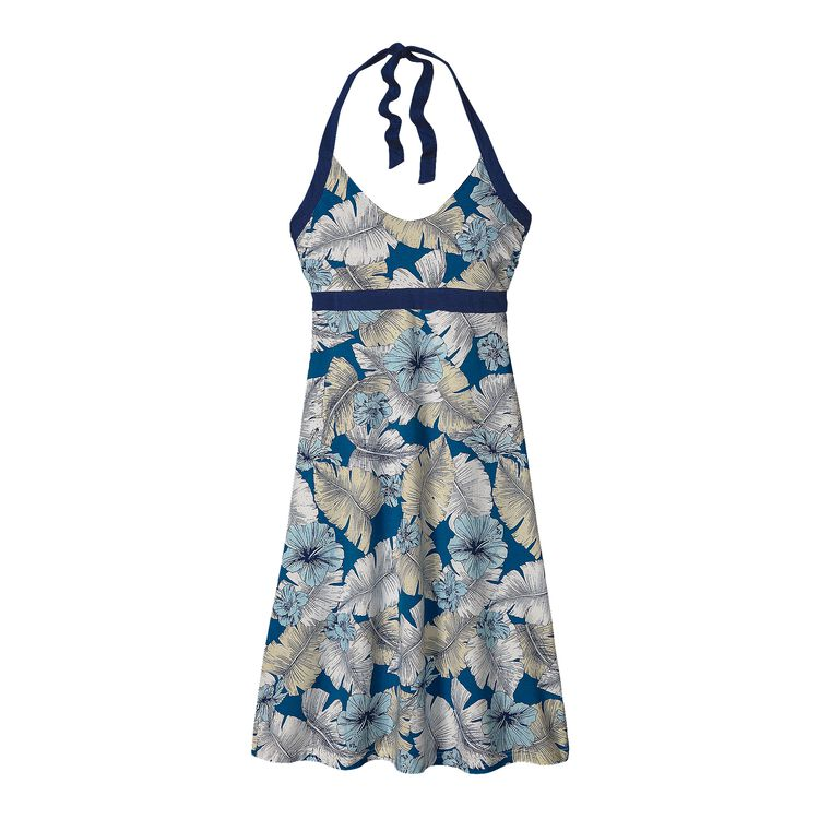 W'S ILIANA HALTER DRESS, Best Fronds: Bandana Blue (BSBB)