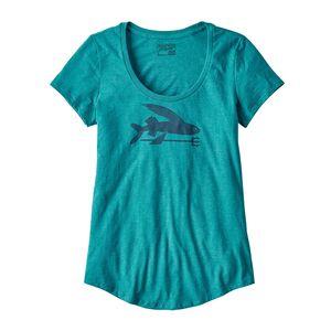 ウィメンズ・フライング・フィッシュ・オーガニックコットン/ポリ・スクープ・Tシャツ, Elwha Blue (ELWB)