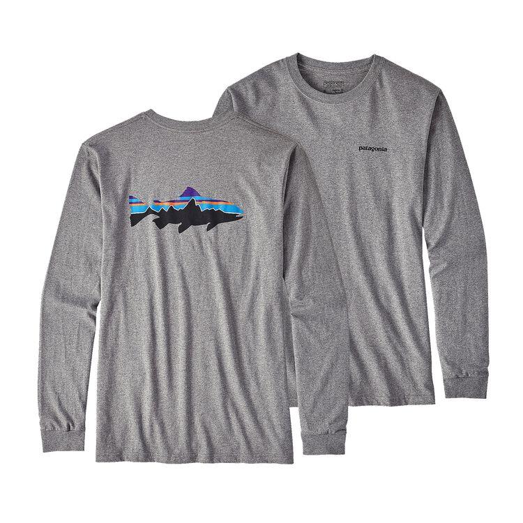 メンズ・ロングスリーブ・フィッツロイ・トラウト・オーガニックコットン・Tシャツ, Gravel Heather (GLH)
