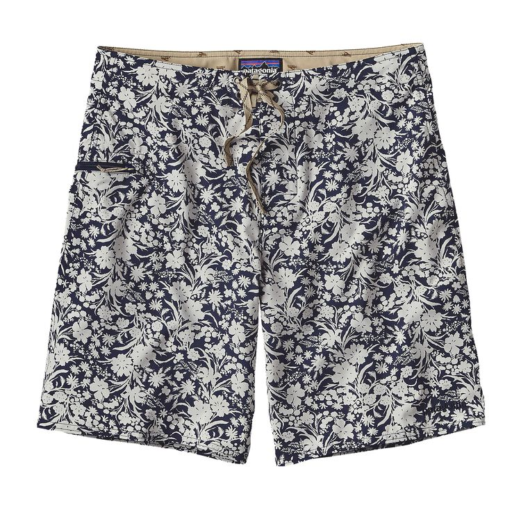 M'S PRINTED STRETCH PLANING BOARD SHORTS, Free Lei: Navy Blue/Tailored Grey (FLNV)
