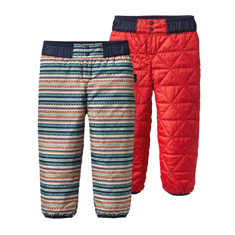 BABY REVERSIBLE PUFF-BALL PANTS, Fin Stripe: French Red (FFNR)