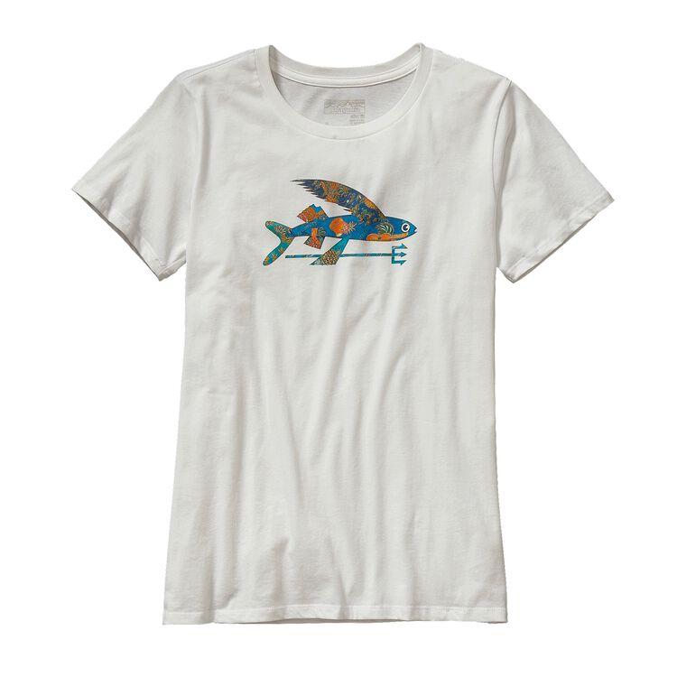 W'S ISLE WILD FLYING FISH COTTON CREW T-, White (WHI)