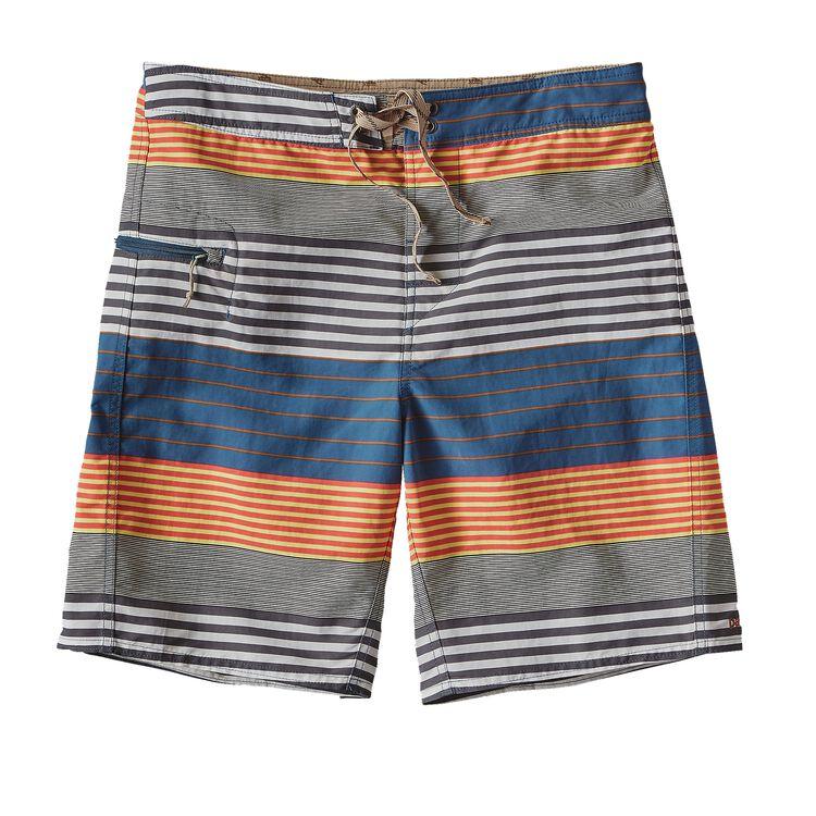 M'S PRINTED WAVEFARER BOARD SHORTS - 19, Stripe of Stripes: Glass Blue (SSGB)