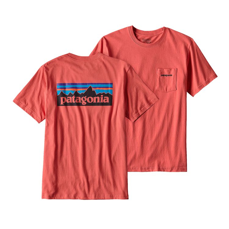 メンズ・P-6ロゴ・コットン・ポケット・Tシャツ, Spiced Coral (SPCL)