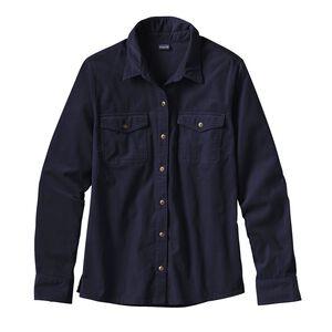 ウィメンズ・ロングスリーブ・マイクロコード・シャツ, Navy Blue (NVYB)