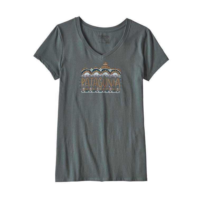 ウィメンズ・フェム・フィッツロイ・オーガニックコットン・Vネック・Tシャツ, Nouveau Green (NUVG)
