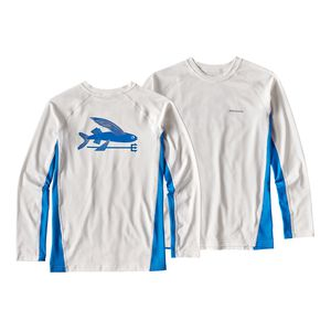 Boys' Long-Sleeved Silkweight Rashguard, White w/Andes Blue (WHAB)