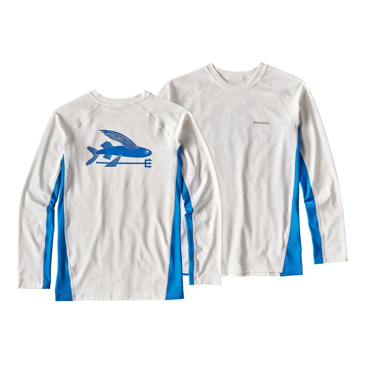 ボーイズ・ロングスリーブ・シルクウェイト・ラッシュガード, White w/Andes Blue (WHAB)