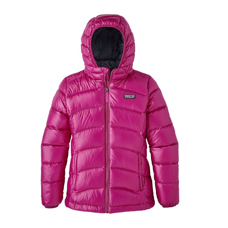 GIRLS' HI-LOFT DOWN SWEATER HOODY, Magenta (MAG)