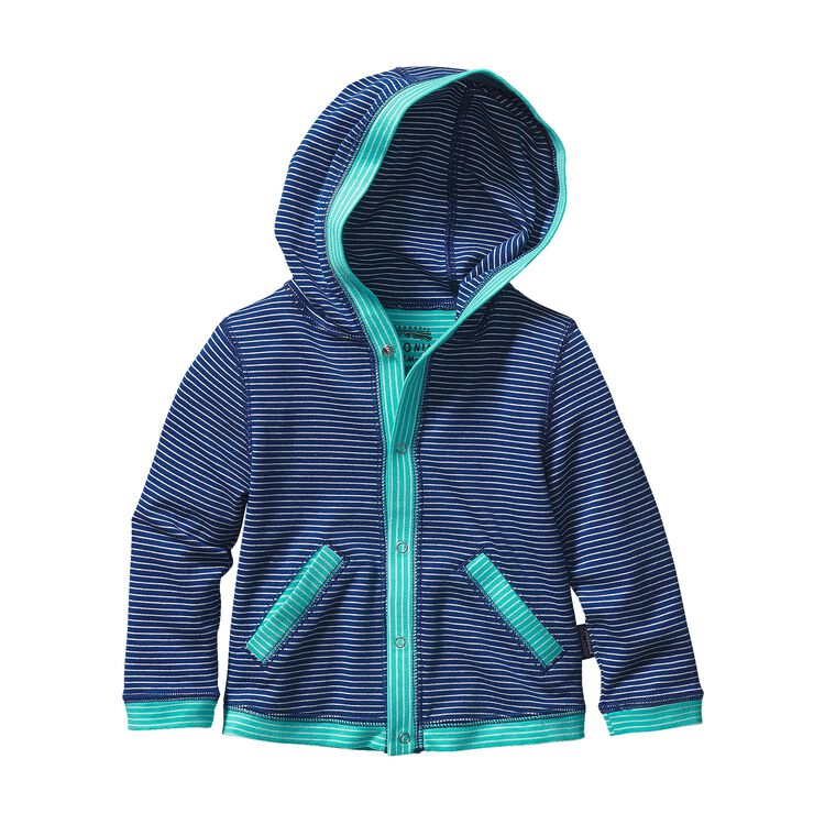 BABY COZY COTTON HOODY, Itsy Bitsy Stripe: Channel Blue w/ Howling Turquoise (ICIH)