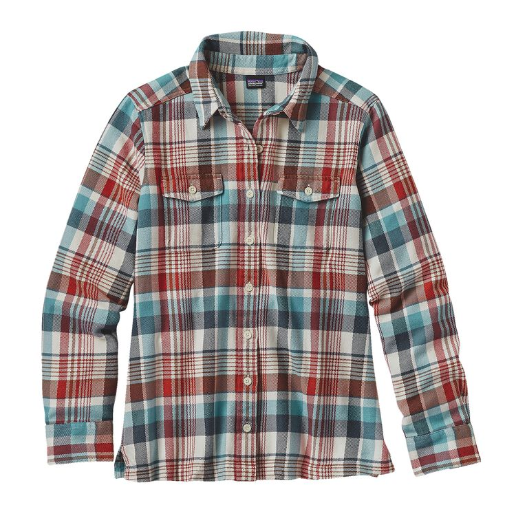W'S L/S FJORD FLANNEL SHIRT, Bay Laurel: Toasted White (BLTW)