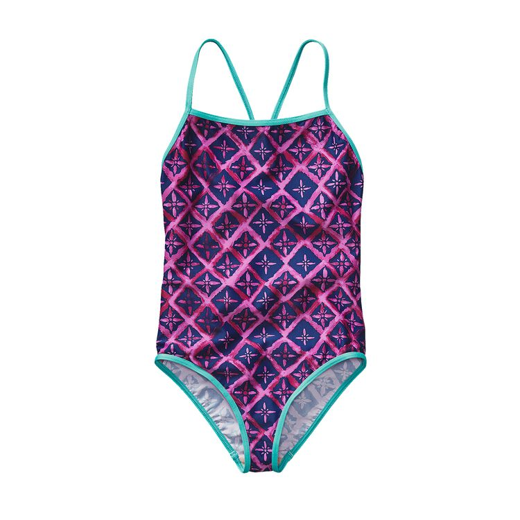 GIRLS' T-BACK ONE PIECE, Talavera Tiles: Mock Purple (TVMP)
