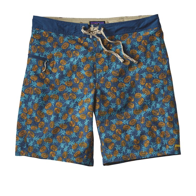 M'S PRINTED WAVEFARER BOARD SHORTS - 19, Pineapples Small: Glass Blue (PSGL)