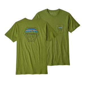 M's Fitz Roy Hex Organic Cotton Pocket T-Shirt, Sprouted Green (SPTG)