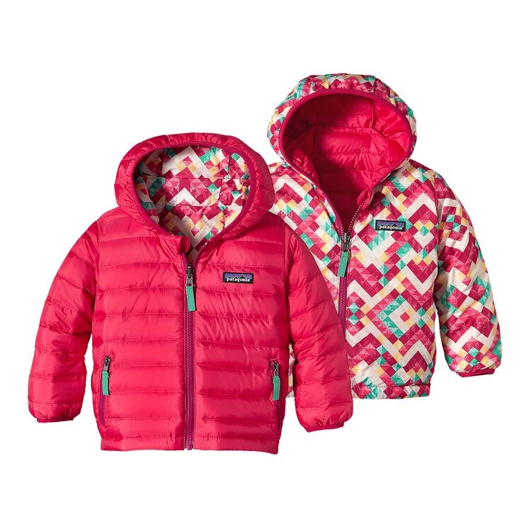 BABY REVERSIBLE DOWN SWEATER HOODY, Rossi Pink (RPN)