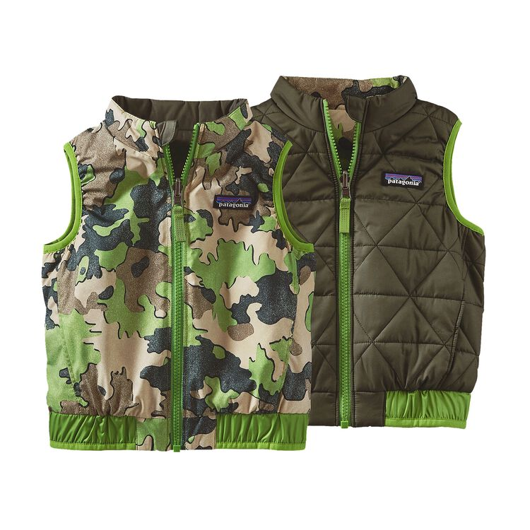 BABY REVERSIBLE PUFF-BALL VEST, Sycamore Camo: Hydro Green (SCHG)