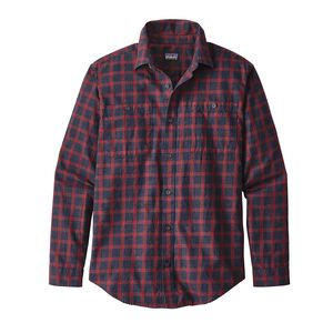 M's Long-Sleeved Pima Organic Cotton Shirt, Lodge Pine: Navy Blue (LPNB)