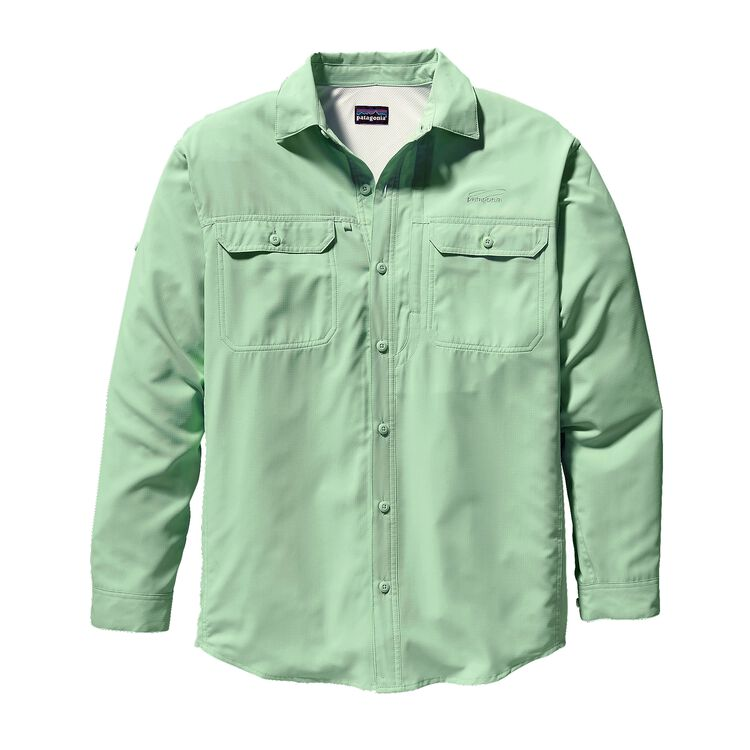 メンズ・ロングスリーブ・ソル・パトロール・シャツ, Sea Glass Green (SLS-059)