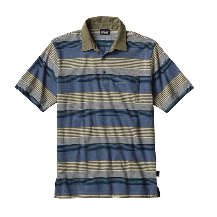 M'S SQUEAKY CLEAN POLO, Stripe of Stripes Small: Taproot (SSST)