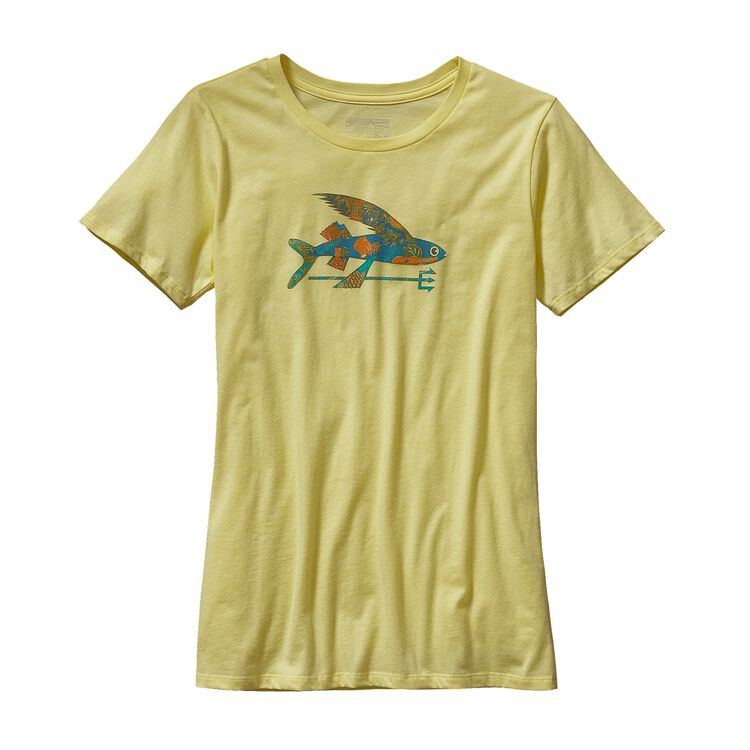 W'S ISLE WILD FLYING FISH COTTON CREW T-, Lite Blazing Yellow (LBZY)