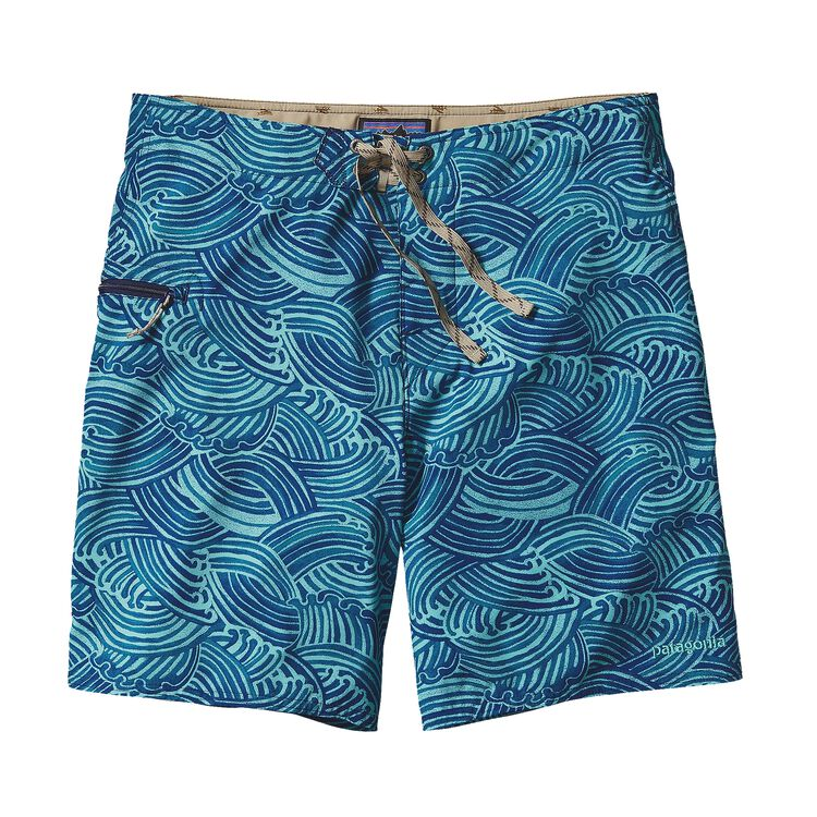 M'S PRINTED STRETCH PLANING BOARD SHORTS, Water Maker: Howling Turquoise (WHTQ)