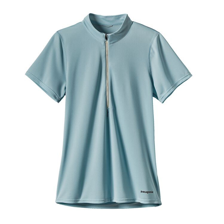 W'S S/S FORE RUNNER ZIP NECK, Tubular Blue (TUBL)