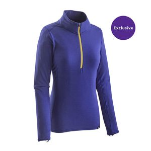 W's Merino Midweight Zip-Neck, Harvest Moon Blue (HMB)