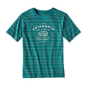 ボーイズ・ストライプド・GPIWビナ・コットン・Tシャツ, Sets Small: True Teal (SMTR)