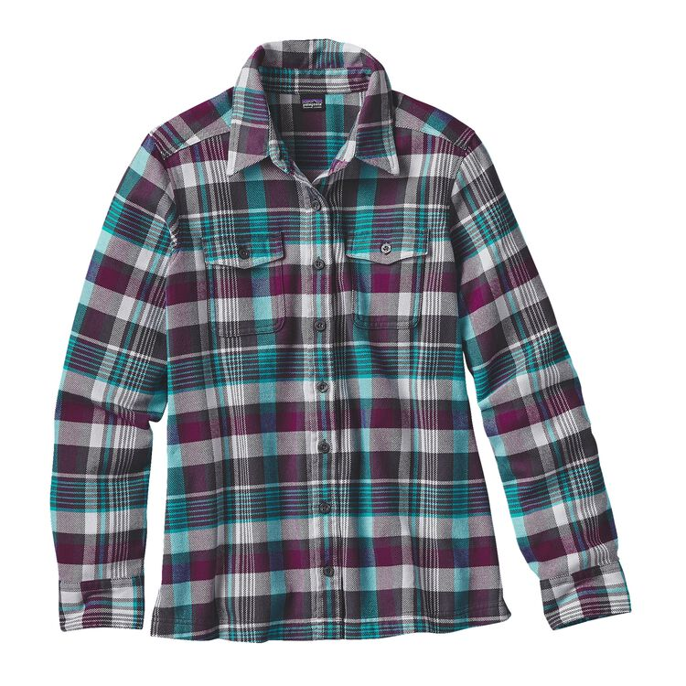 W'S L/S FJORD FLANNEL SHIRT, Bay Laurel: Forge Grey (BLFG)