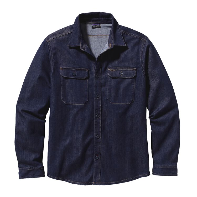 M'S L/S WORKWEAR SHIRT, Dark Denim (DDNM)