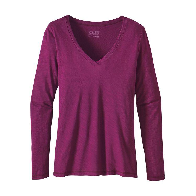 W'S L/S NECESSITY V-NECK, Violet Red (VIO)