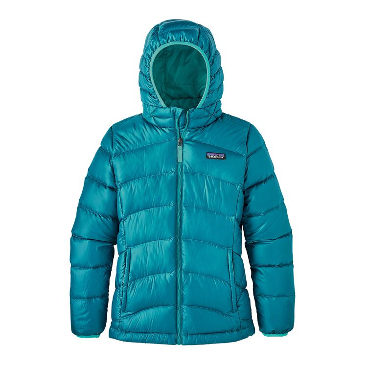 GIRLS' HI-LOFT DOWN SWEATER HOODY, Elwha Blue (ELWB)