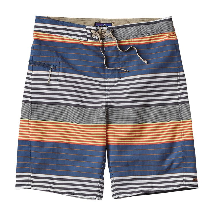 M'S PRINTED WAVEFARER BOARD SHORTS - 21, Stripe of Stripes: Glass Blue (SSGB)